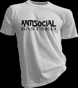 Antisocial Bastard Mens White Tshirt