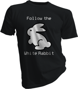 Follow The White Rabbit Black Tshirt