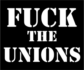 Fuck The Unions Black Tshirt Logo