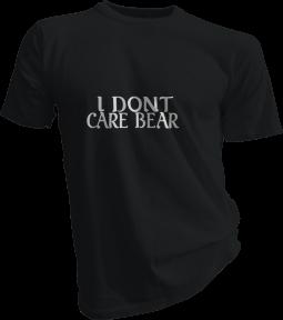 I Dont Care Bear Mens Black Tshirt