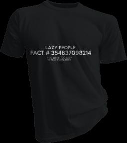 Lazy People Fact Mens Black Tshirt