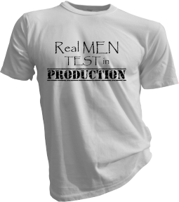 Real Men Test In Production White Tshirt