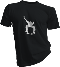 Skateboard Kick Flip Mens Black Tshirt