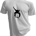 Skateboard Kick Flip Mens White Tshirt