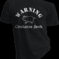 Warning Contains Pork Black Tshirt