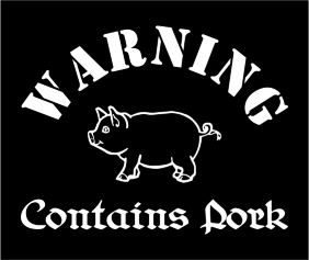 Warning Contains Pork Black Tshirt Logo