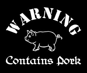 Warning Contains Pork Black Tshirt Logo